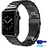 Apple Watch band, AUCEE iWatch band Stainless Steel Strap Wrist Bands Replacement with Durable Folding Metal Clasp for Apple Watch 42mm (Black)