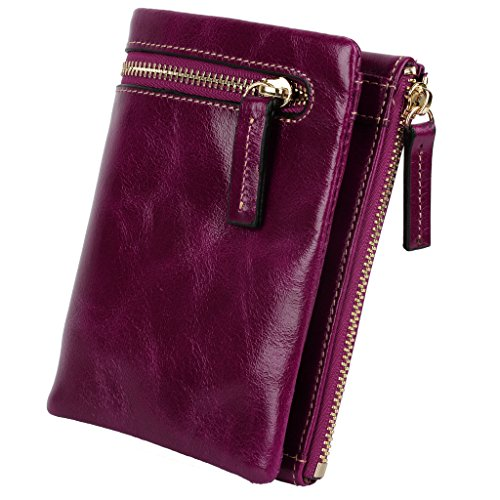 YALUXE Women's Compact Small Soft Cowhide Leather Bi-fold Wallet with Zipper Pocket Purple