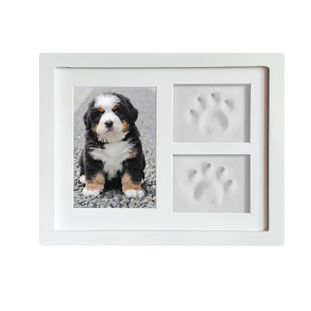 Dog or Cat Paw Prints Pet memorial Triple Photo Frame 4x6 With Clay Impression Kit, Perfect Keepsake picture Frame for Pet Lovers White/White Coryfeel