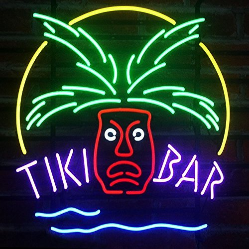 "Urby™ 17""x14"" Tiki Bar Totem Pole Handmade Real Glass Neon"