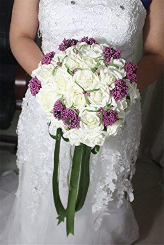 Buy Mimi Flower Artificial Pe Purple White Bouquet Bridal Wedding