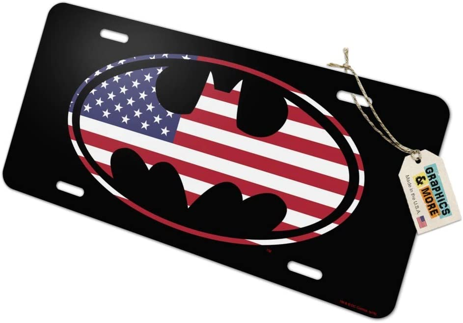 Graphics and More Batman USA American Flag Shield Logo Novelty Metal Vanity Tag License Plate