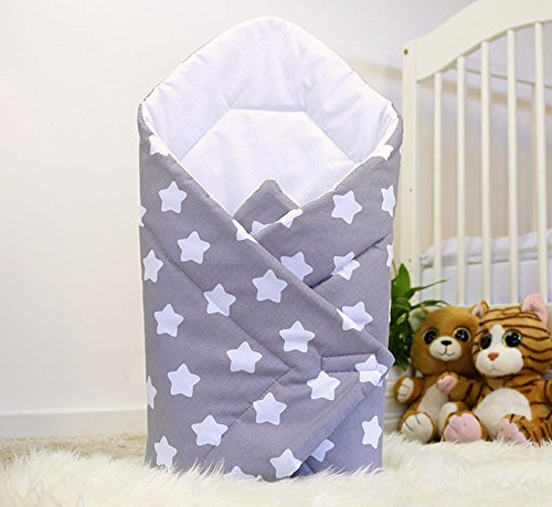 Baby Swaddle WRAP Newborn Infant Bedding Blanket Cotton Sleeping Bag Cotton WRAP (Big White Stars on Grey Background) Babymam