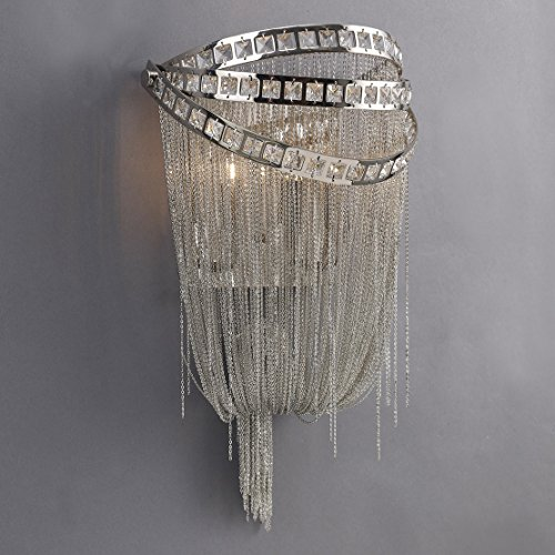 (Wilshire BLVD. Collection Polish Nickel Chain and Crystal Wall Sconce)
