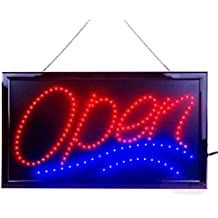 """Large LED Open Sign for Business Displays: Jumbo Electric Light Up Sign Open with 2 Flashing Modes   Lighted Signs for Bars, Liquor Stores   No use of toxic Neon (24"""" x 13"""", Model 1)"""