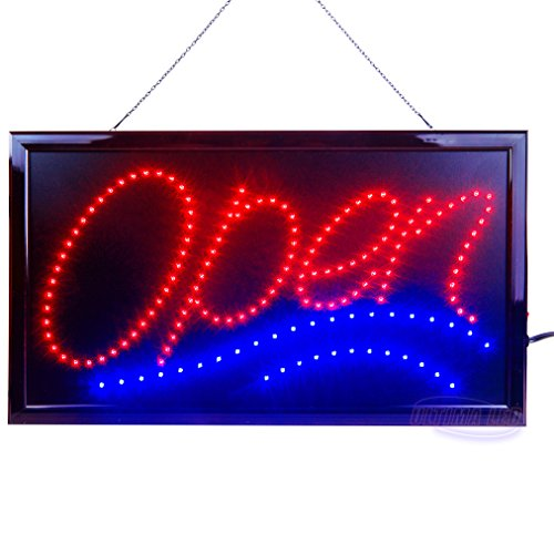2 Retro Signs (Large LED Open Sign for Business Displays: Jumbo Electric Light Up Sign Open with 2 Flashing Modes | Great for Bars, Liquor Stores | No use of toxic Neon (24