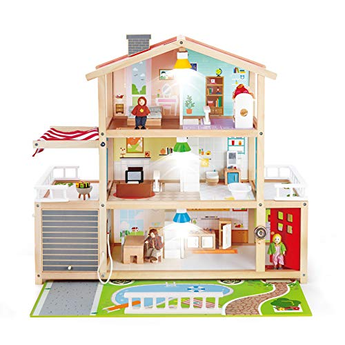 Hape Doll Family Mansion  Award Winning 10 Bedroom Doll House, Wooden Play Mansion with Accessories for Ages 3+ Years