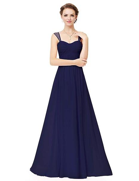 146581971fa8 Ever-Pretty Vestito da Damigella d Onore Sera Cerimonia Donna Lunga  Elegante Blu Navy