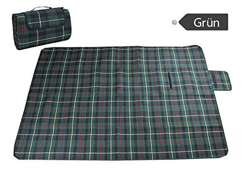 icase4u® BBQ Picknickbedarf Extra Groß Wasserdicht Picknickdecken Camping blanket Matte Teppich Reise Outdoor Strand Camping Decke 130x 170cm (Grün)