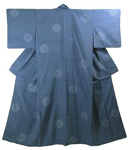 熱心な手つかずの磁器リサイクル 着物 紬  緯絣 花紋 正絹 袷 裄69.5cm 身丈168cm