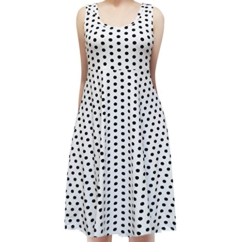 ShopMyTrend SMT Women's Sleeveless Flowy Midi Summer Beach A Line Tank Dress Small Polka Dot Black in - In Dress Polka Womens Dot