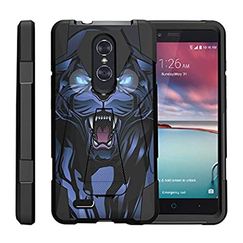 TurtleArmor | ZTE ZMax Pro Case | Z981 | ZTE Carry Case [Dynamic Shell] Hybrid Duo Cover Impact Absorbent Shock Silicone Layer Kickstand Hard Shell Animal Design - Fierce (Zte Zmax Phone Case Animals)