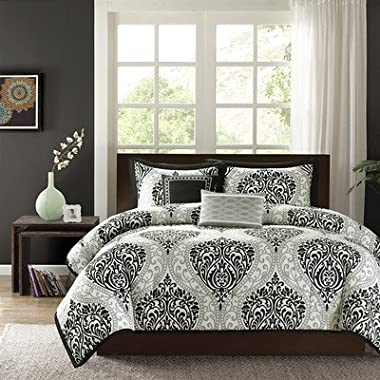 Intelligent Design Senna 5 Piece Comforter Set, Full/Queen, Black