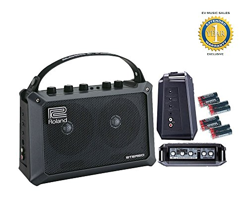 (Roland Mobile Cube Battery Powered Stereo Amplifier and 8 Free Universal Electronics AA Batteries Bundle with 1 Year Free Extended Warranty)