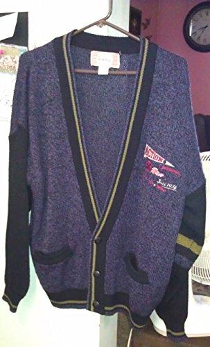 Vintage 80s Bugle Boy Cardigan Sweater Large Purplish and Black
