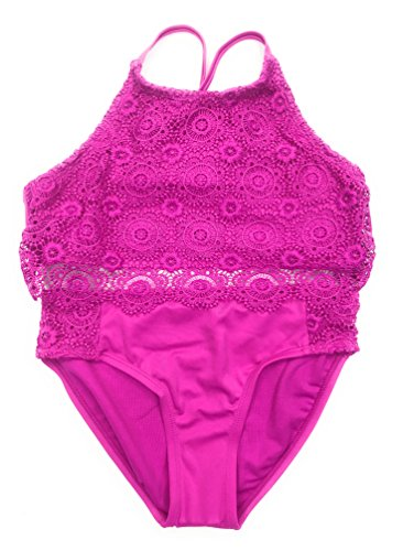 Justice Girls Bikini Bathing Suit Swimsuit Multiple Styles & Sizes (Hot Pink Crochet High Neck, 10) by Justice