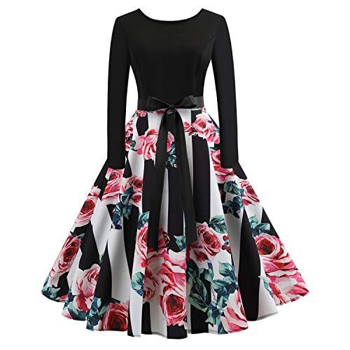 Vcegari Women's Long Sleeve Round Neck A-line Midi Dress Halloween Pumpkin Dress (L, Pink) -