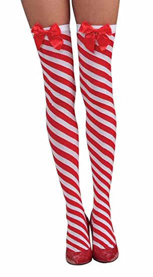 b186fb8ab Amazon.com  Faerynicethings Candy Cane Thigh Highs - Red and White  Christmas Stockings  Clothing