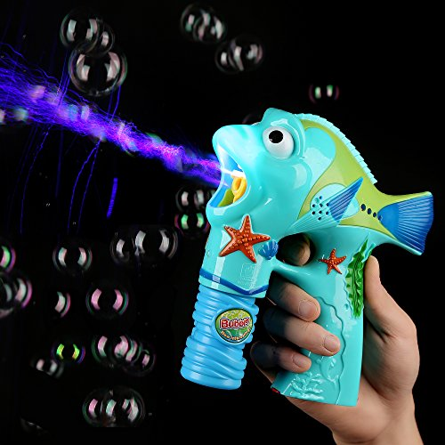 Fun Central AU217 1 Piece 6 Inches Fish LED Bubble Gun, Light Up Bubble Gun, Bubble Gun for Kids - Perfect for Birthday Parties, Pool Parties, Christmas, New Year's Celebration - Fish