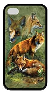 Children's Red Fox Collage TPU Case Cover for iPhone 4 and iPhone 4s Black