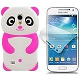 Semoss 3D Panda Étui Coque Housse En Silicone Cover avec Protecteur d'écran pour Samsung Galaxy S4 mini i9190 i9195 (Rose)
