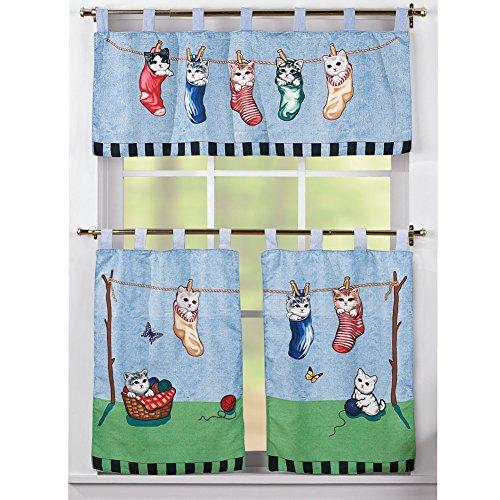 Laundry Clothesline Kitten Curtain Set