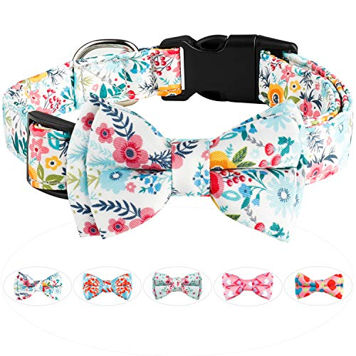 Dog Bow Tie, HAOPINSH Dog Collar Bowtie Dog Collar, Adjustable Girl Boy Valentine's Day Dog Collars, Holiday Collars for Large Medium Small Dogs Pets Soft Durable Comfortable Spring S