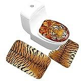 Animal Print Non Slip Toilet Seat Cover Tiger Rugs Set Leopard Toilet Lid Covers Zebra Flannel Bathroom Floor Mat Kit (Tiger)