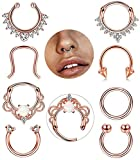 FIBO STEEL 8 Pcs 16G Septum Piercing Nose Rings Hoop Cartilage Tragus Retainer Body Piercing Jewelry RG
