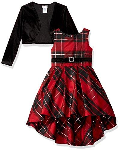 Fully Lined Taffeta Skirt (Youngland Little Girls' Long Sleeve Velour Bodice Taffeta Plaid Dress, Red/Black, 4)