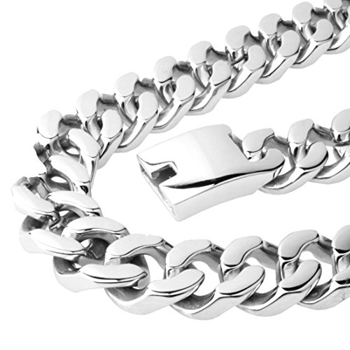 20mm Curb Chain Necklace - Huge 20mm Wide Casting Stainless Steel Curb Chain Bracelet Or Necklace Strong Men's Silver Jewelry,8-36 (22.0)
