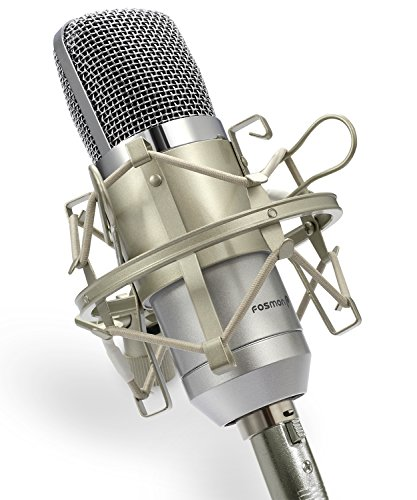Professional Condenser Microphone, Fosmon XLR to 3.5mm Desktop or Laptop Studio Cardioid Voice Recording Mic with Shock Mount & Windscreen for Broadcasting, Pod Casting, YouTube, Live & On Stage