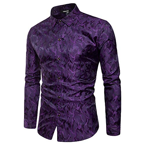 YIMANIE Mens Regular Fit Long Sleeve Shiny Silk Like Satin Dance Prom Luxury Dress Shirt Camouflage Tops (Purple, XX-Large)