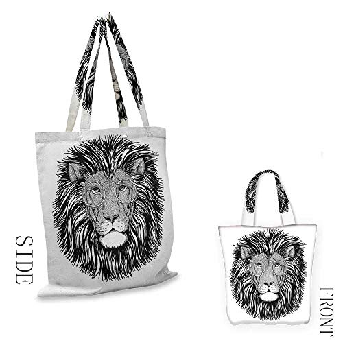 IndieCraft canvas shopping bagWild Hipster Lion with Glasses Wise Big Cat Clever Intelligent Animal PortraitCan also be loaded with a laptop W15.75 x L13.78 Inch Black and White