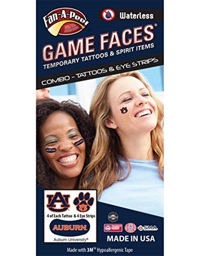 Auburn University (AU) Tigers - Waterless Peel & Stick Temporary Tattoos - 12-Piece - Au Auburn University Tigers