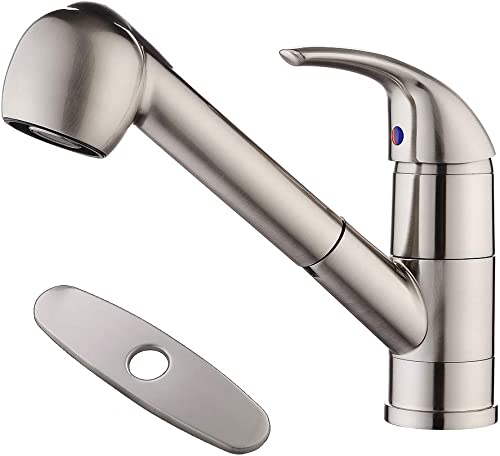 HLBLFY Brushed Nickel Stainless Steel Single Lever Single Handle Pull Out Sprayer Prep Kitchen Sink Faucets,Brushed Nickel Finished