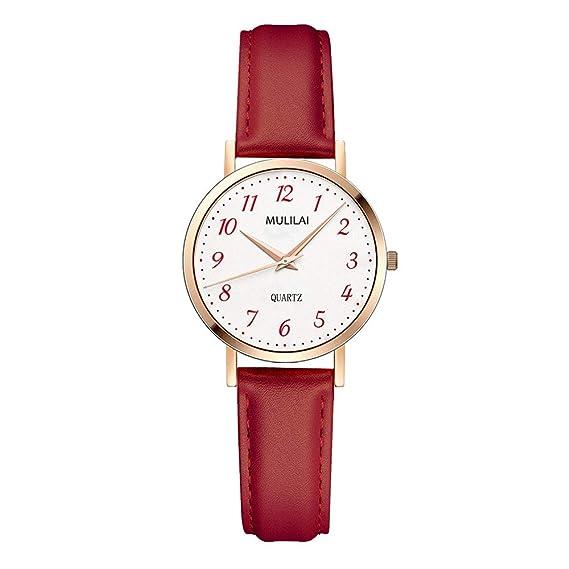 Relojes Mujer con Correa de Cuero, Grande Escala de Números Arábigos Relojes de Pulsera clásicos, Rojo: Amazon.es: Relojes