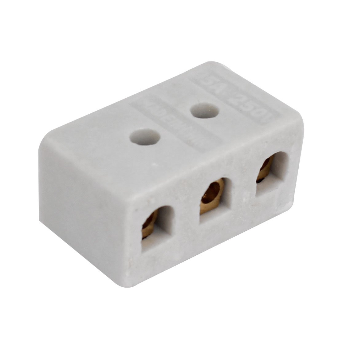 uxcell 3 Way Ceramics Terminal Blocks High Temp Porcelain Ceramic Connectors 31x20x14mm for Electrical Wire Cable
