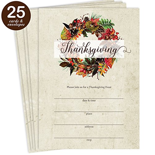Thanksgiving Meal Invites & Envelopes ( Pack of 25 ) Rustic Country Leaf & Pine Cone Wreath Design Large 5 x 7