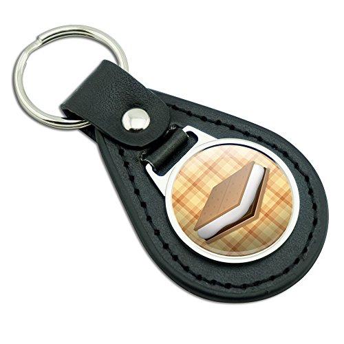 Smores Roast Marshmallow Campfire Camping Orange Black Leather Metal Keychain Key Ring ()