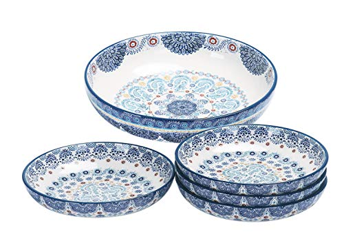 Bico Blue Talavera Ceramic Pasta Bowl, Set of 5(1 unit 214oz, 4 units 35oz), for Pasta, Salad, Microwave & Dishwasher Safe, House Warming Birthday Anniversary Gift