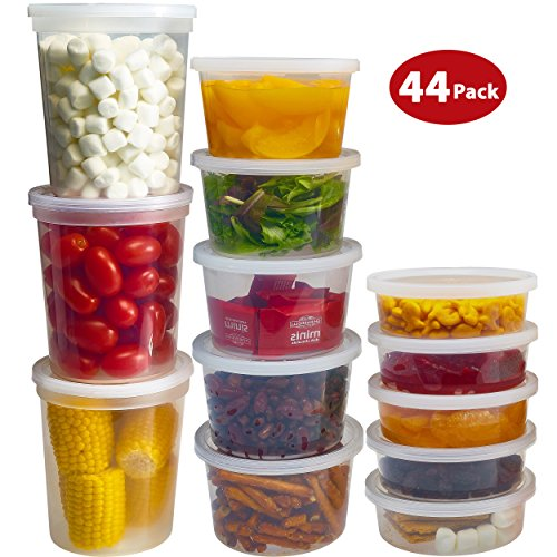 e Containers with Lids 8oz, 16oz, 32oz Freezer Deli Cups Combo Pack, 44 Sets BPA-Free Leakproof Round Clear Takeout Container Meal Prep - Microwavable, Reusable, Dishwasher Safe (Leftovers Containers)