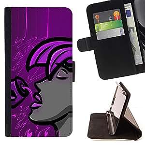 Jordan Colourful Shop - Purple Woman For Apple Iphone 5C - < Leather Case Absorci????n cubierta de la caja de alto impacto > -