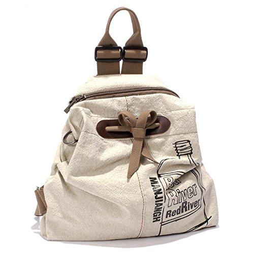 Aoligei Voyage étudiant de art petit frais double sac à bandoulière coton simple sac à dos lin