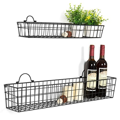 Country Rustic Wall Mounted Openwork Black Metal Mesh Storage Baskets Display Racks, Set of 2