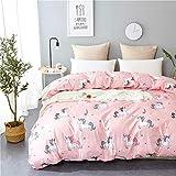 Uozzi Bedding Kids Pink Unicorn Duvet Cover Set Reversible Microfiber Polyester Print Cute 3PC Bedding Set-1duvet Cover+2pillowcases -(Pink Unicorn, Queen)