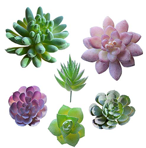 A-FUN Realistic Fake Artificial Succulent Plants Unpotted Fake Cactus for Home Gardern Diy Decoration 6 PCS
