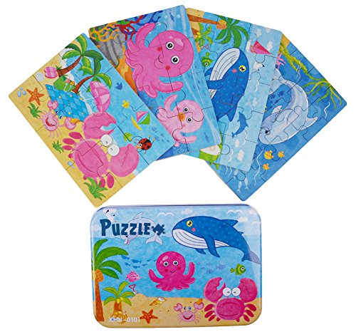 "Vileafy Marine Organism Series Jigsaw Puzzle Sets, 4-Pack 4 Complexities, Best for 3-5 Years Old Babies to Develop Dexterity and Problem Solving, Free Iron Box for Easy Storage, 6 1/2"" X 4 1/2""."