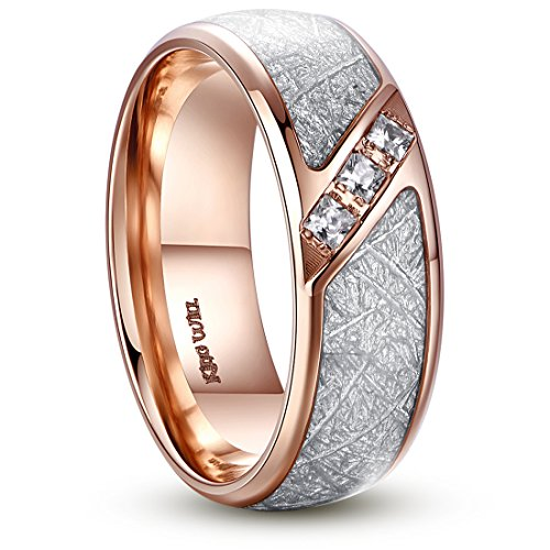 (King Will Meteor 8mm Titanium Wedding Band Ring Rose Gold Plated Meteorite Domed Polished 9)