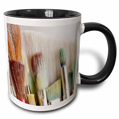 3dRose Danita Delimont - Jaynes Gallery - Objects - USA, Washington, Seabeck. Close-up of artists brushes. - 15oz Two-Tone Black Mug (mug_190538_9)